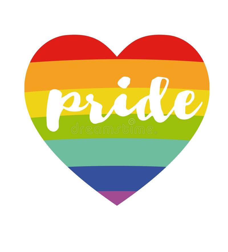 Regnbågehjärta med den handskrivna ord'stolthet'affischen LGBT-begrepp Regnbåge och handskriven text Märka för affisch, baner, ca vektor illustrationer