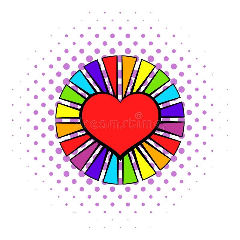 Regnbågehjärta med färg rays symbolen, komiker utformar stock illustrationer
