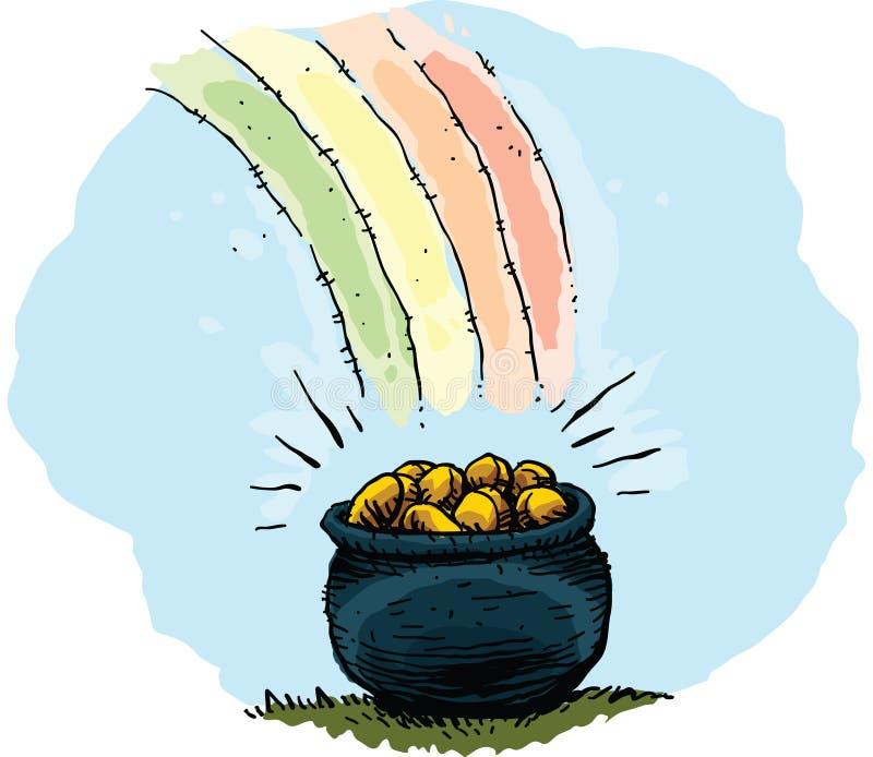 Regnbågekruka av guld stock illustrationer