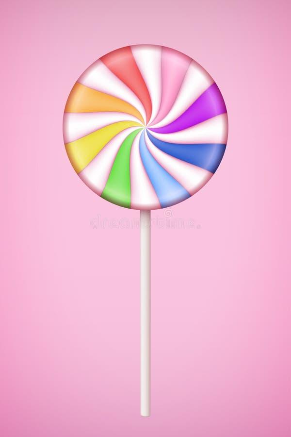 RegnbågeLolipop godis på bakgrund för pastellfärgade rosa färger royaltyfri illustrationer