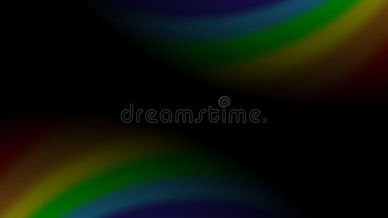 Regnbågelutning på svart bakgrund Ingrepp för färgregnbågeabstrakt begrepp Färgrik ljus mjuk design Vibrerande släta suddighet vektor illustrationer