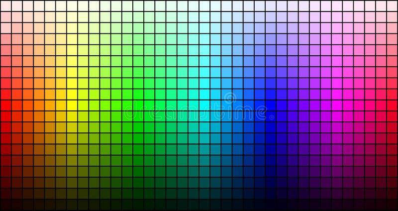 Regnbågemosaik, ton och ljusstyrka, på svart bakgrund vektor stock illustrationer