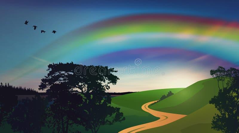 Regnbågen över freen fältet stock illustrationer