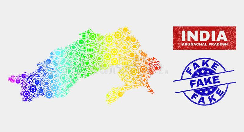 Regnbågen färgad produktion Arunachal Pradesh State Map och nödläge fejkar skyddsremsor royaltyfri illustrationer