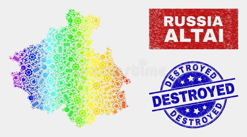 Regnbågen färgade översikten för den fabriksAltai republiken och skrapade förstörda stämpelskyddsremsor stock illustrationer