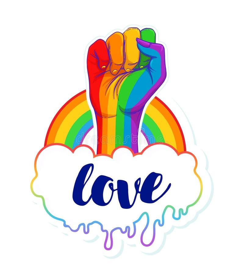 Regnbågen färgade handen med en näve som lyfttes upp glad stolthet Conc LGBT vektor illustrationer