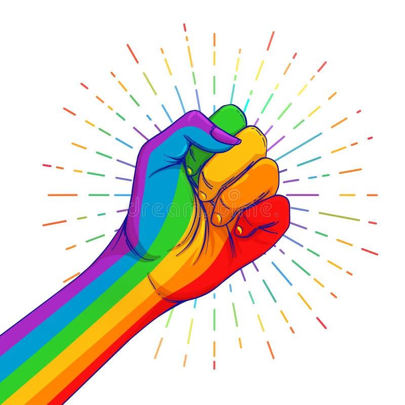 Regnbågen färgade handen med en näve som lyfttes upp glad stolthet Conc LGBT royaltyfri illustrationer