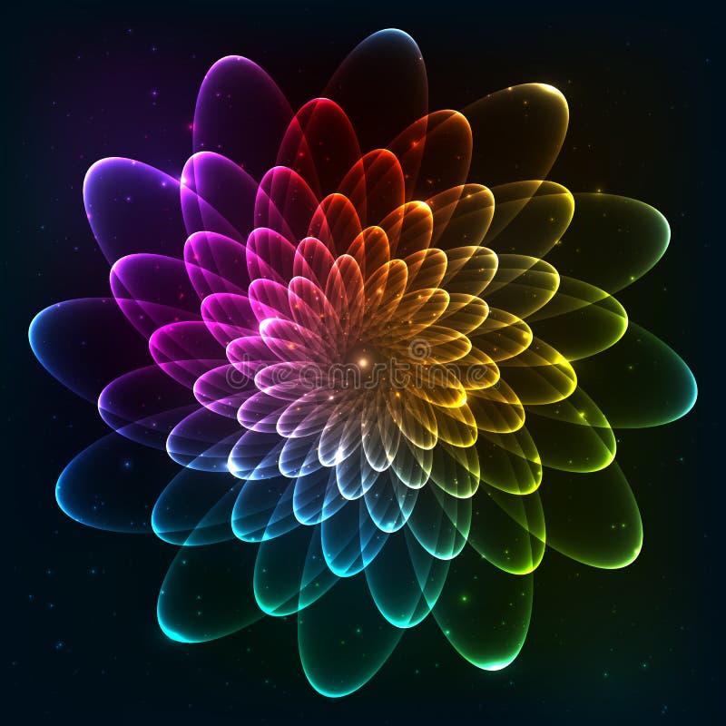 Regnbågen färgar den kosmiska blomman för vektorn vektor illustrationer