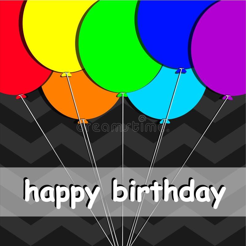 Regnbågen sväller kortet för den lyckliga födelsedagen, färgglade ballonger på den mörka bakgrunden stock illustrationer