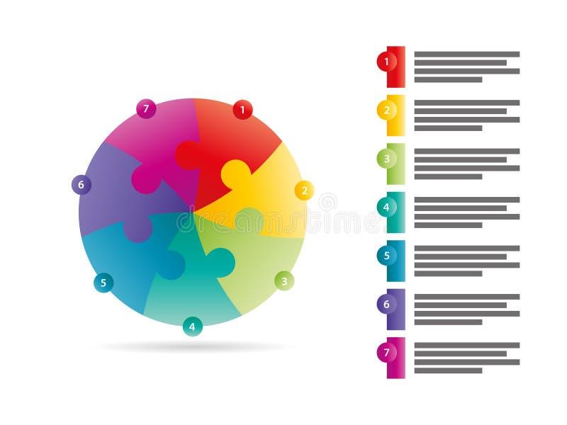 Regnbågespektret färgade den infographic mallen för pusselpresentationen med det förklarande textfältet som isolerades på vit bak royaltyfri illustrationer