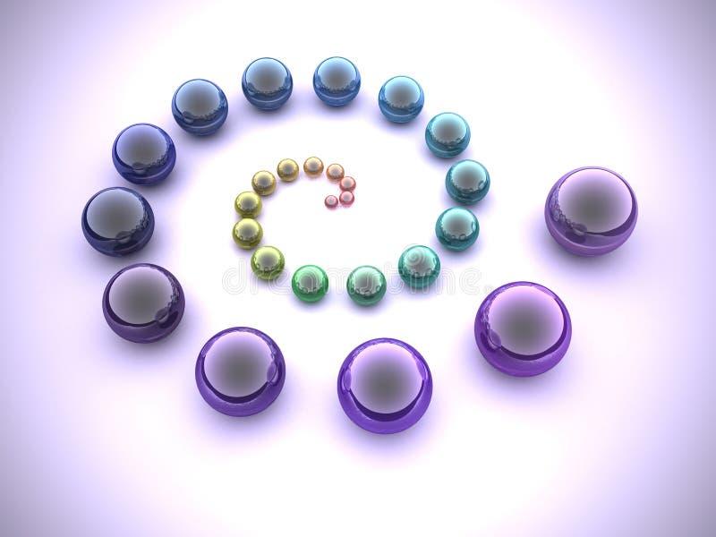 Regnbågespiral vektor illustrationer