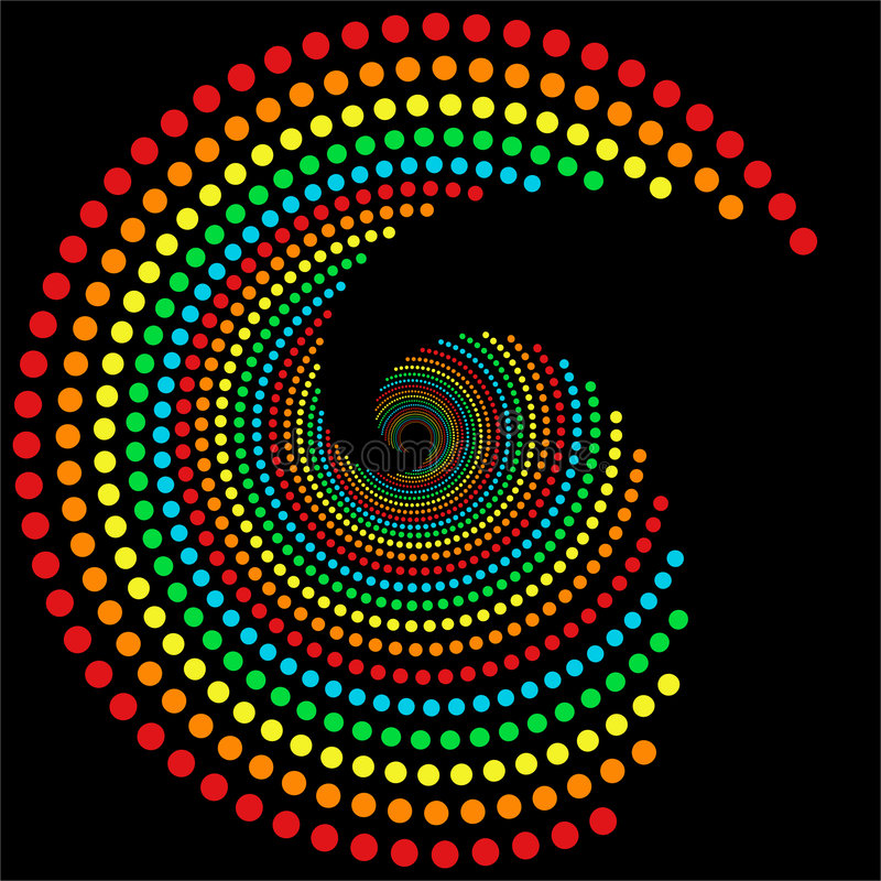 regnbågespiral för 2 prickar stock illustrationer