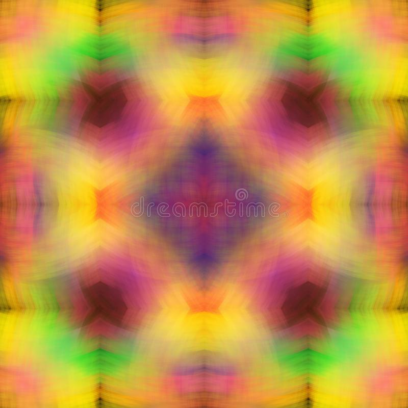 Regnbågestruktur av mjuka suddiga slaglängder ljust mångfärgat för bakgrund Fractalabstraktion Symmetrisk fyrkantig sömlös patte stock illustrationer