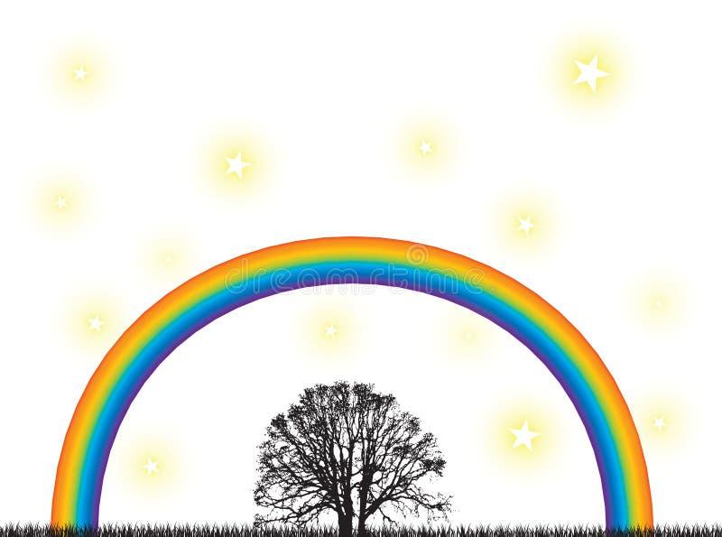 regnbågetree stock illustrationer