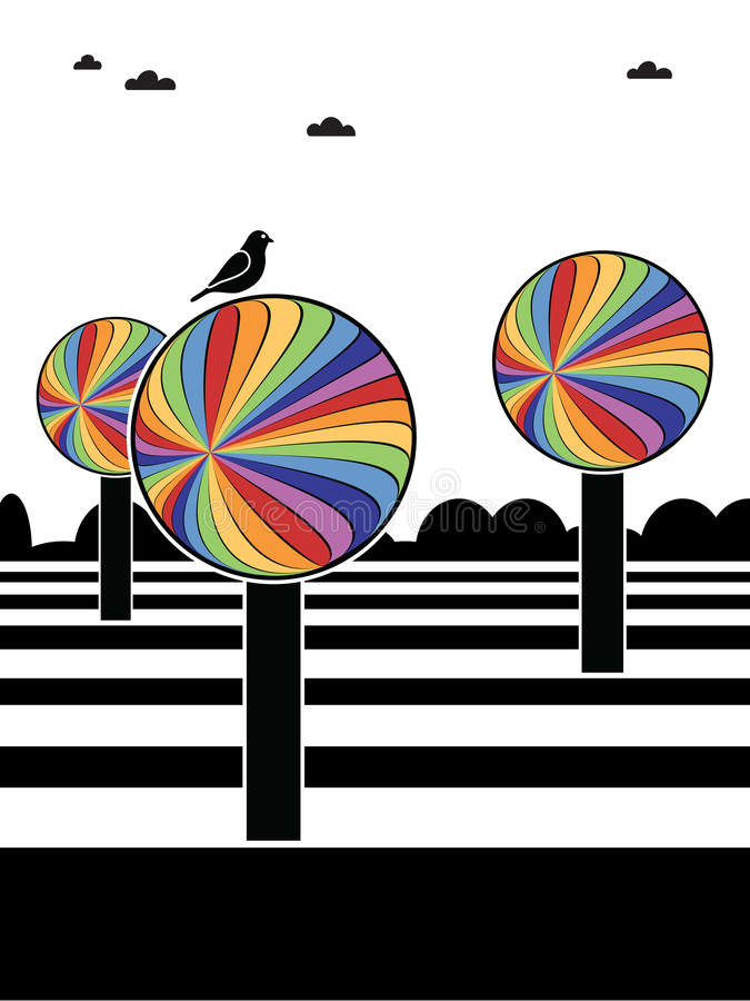regnbågetrees stock illustrationer