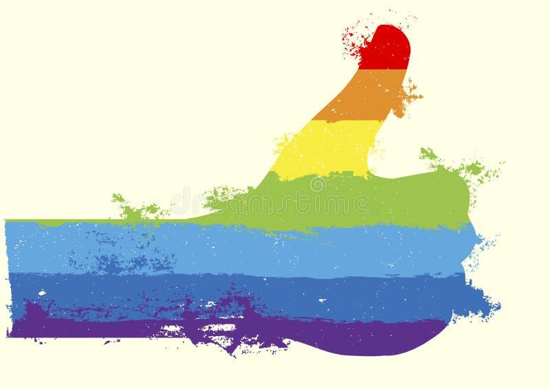 Regnbågetummar upp vektor illustrationer