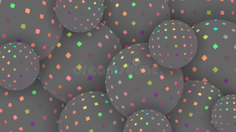 Regnbågsskimrande spektrummosaik på idérik bakgrund 3d för gråa sfärer Rosa gröna gula modellbollar för hologram Tapettrend royaltyfri illustrationer