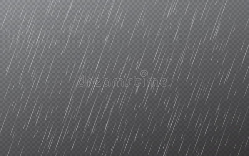 Regndroppar p? genomskinlig bakgrund fallande vatten f?r droppar Naturnederbörd ocks? vektor f?r coreldrawillustration stock illustrationer