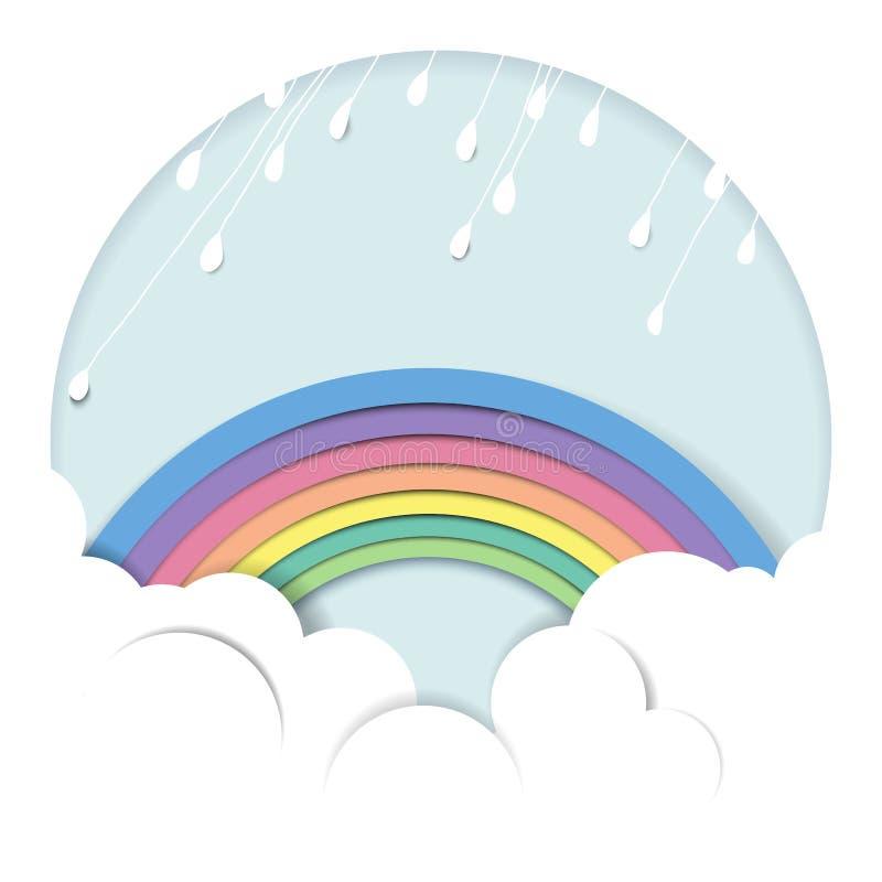 Regnerisch über dem Regenbogen und der Wolke lizenzfreie abbildung