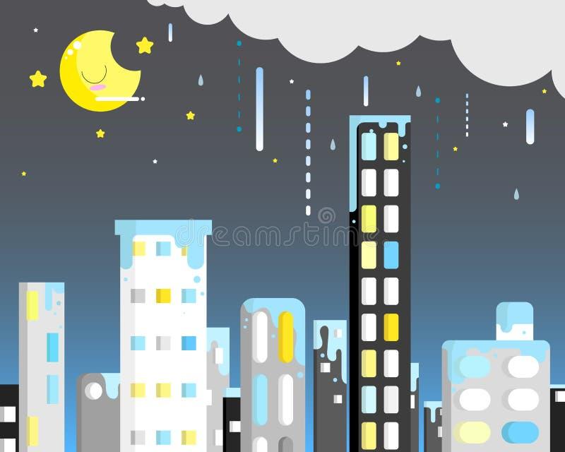 Regnerisch in der Nacht lizenzfreie abbildung