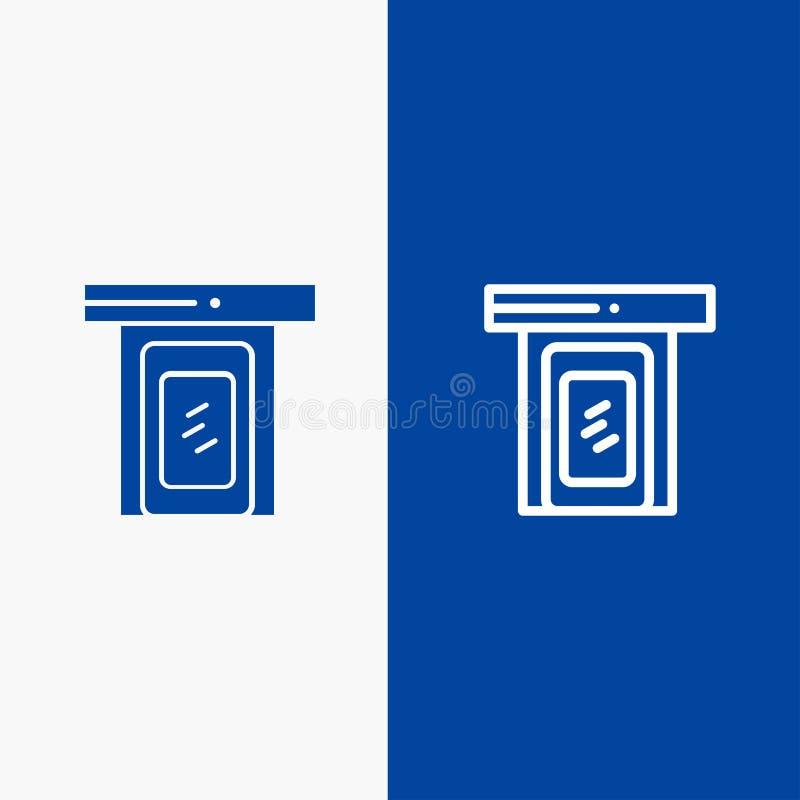 Regnerisch, Wolke, Tür, blaue Fahne der blauen Fahne der Hauptikone der linie und des Glyph festen Ikone Linie und Glyph festen lizenzfreie abbildung