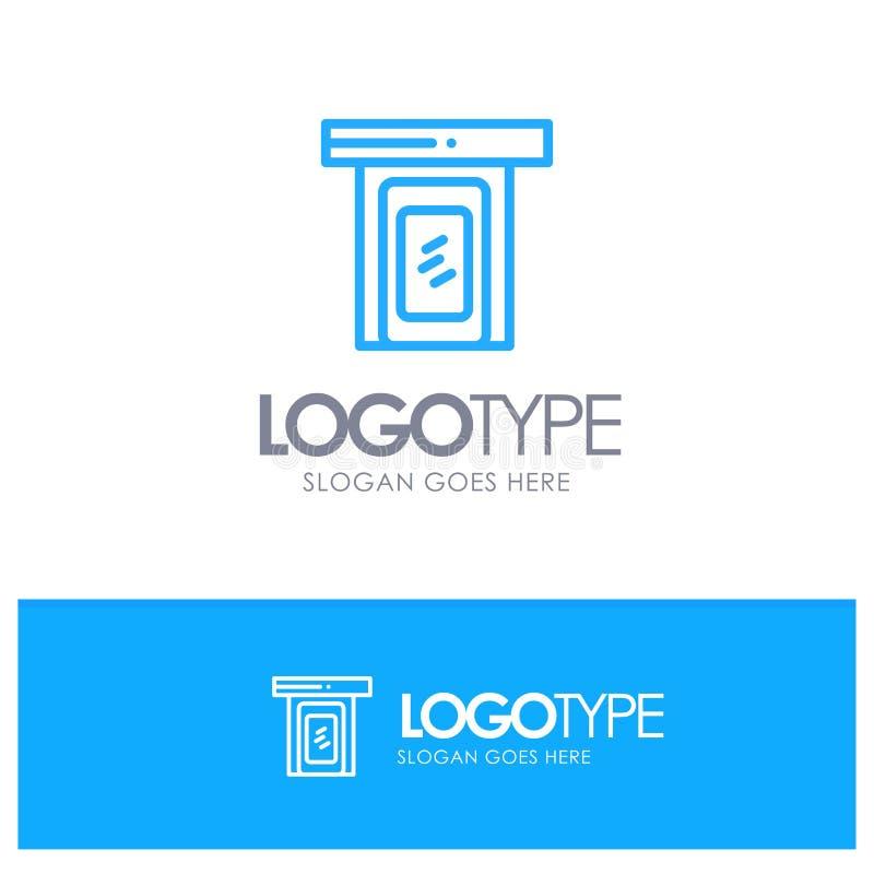 Regnerisch, Wolke, Tür, blauer Hauptentwurf Logo Place für Tagline vektor abbildung