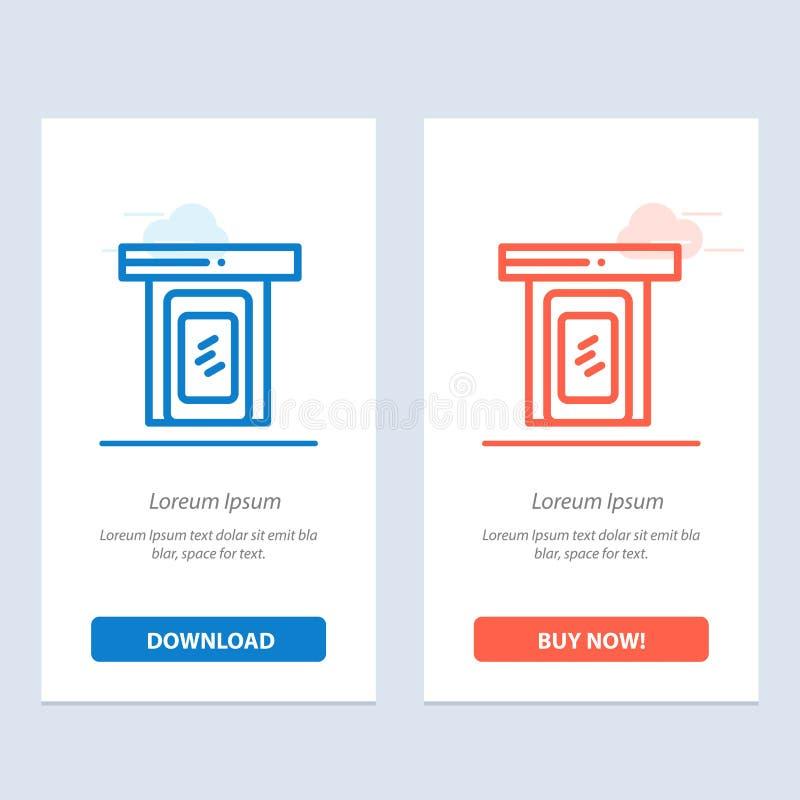 Regnerisch, Wolke, Tür, blaues und rotes Hauptdownload und Netz Widget-Karten-Schablone jetzt kaufen lizenzfreie abbildung