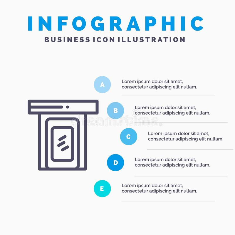 Regnerisch, Wolke, Tür, Hauptlinie Ikone mit Hintergrund infographics Darstellung mit 5 Schritten stock abbildung