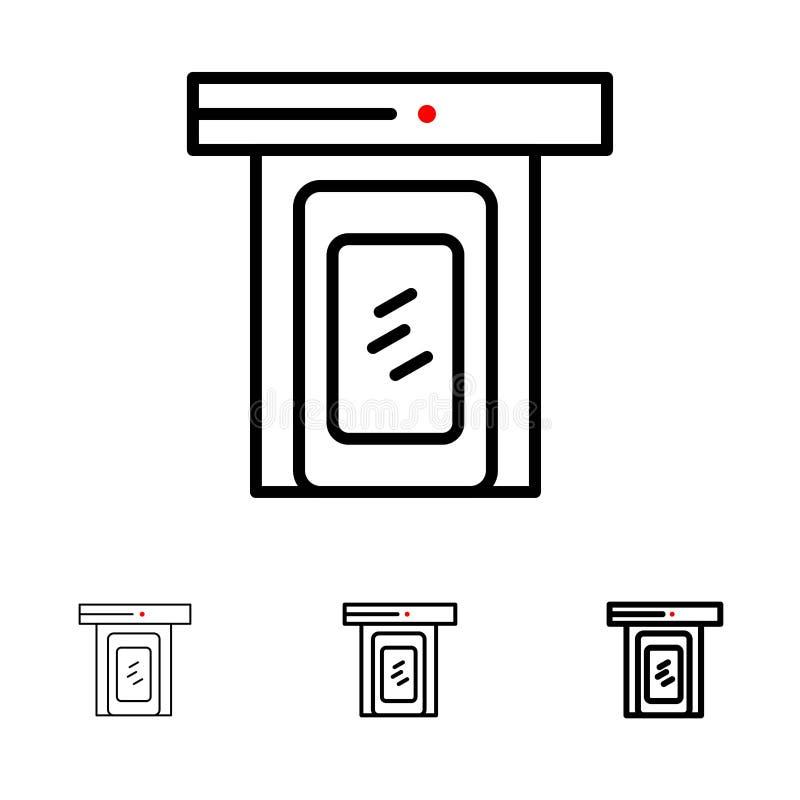 Regnerisch, Wolke, Tür, mutige und dünne schwarze Hauptlinie Ikonensatz lizenzfreie abbildung