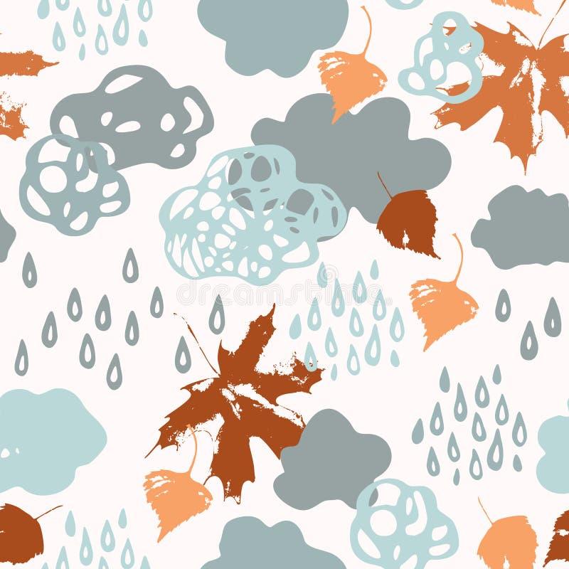 Regnerische Wolken des kühlen Watercolour, Regentropfen, fallender Blatthintergrund vektor abbildung