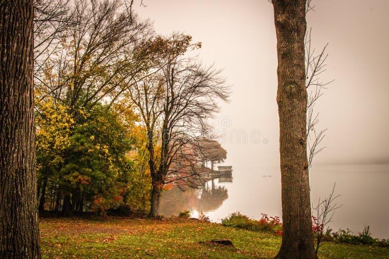 Regnerischer Morgen am Park stockfoto