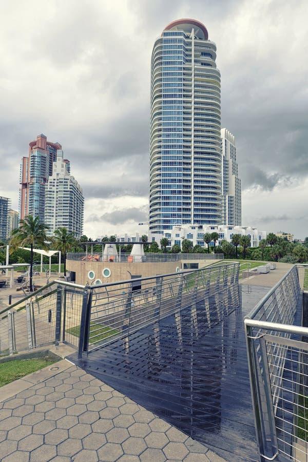 Regnerischer Tag im Miami Beach stockbild