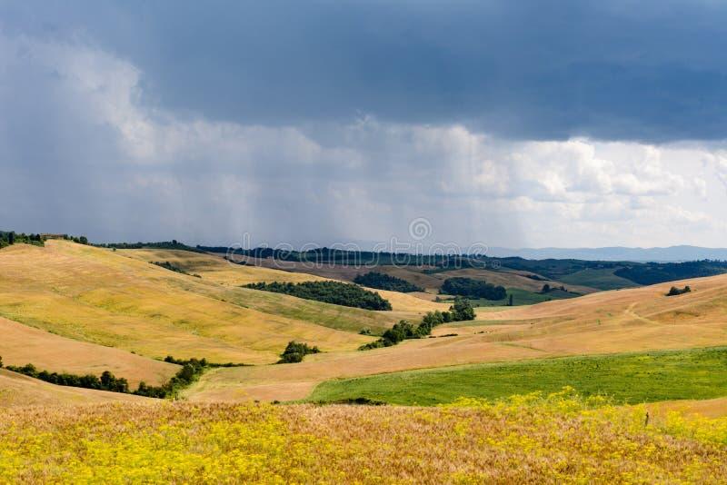 Regnerischer Tag mit Hügeln in einer ruhigen toskanischen Landschaft stockfoto