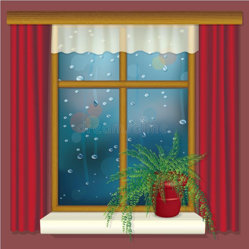 Regnerisches Fenster mit Trennvorhängen und Blume stock abbildung
