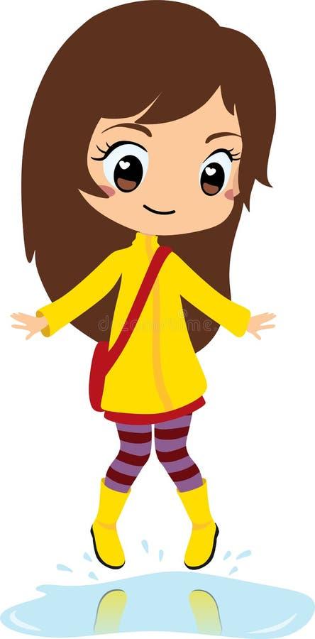 Regnig dag för chic flicka, brun hårbanhoppning på en pöl av vatten med gummistöveler stock illustrationer