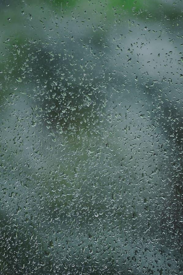 Regnig dag regndroppar på vått fönsterexponeringsglas, vertikal ljus abstrakt detalj för modell för bakgrund för regnvatten, makr royaltyfria foton