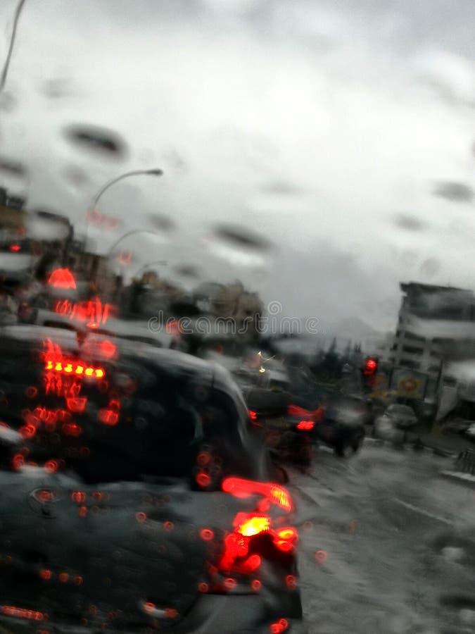 Regnig dag suddighetssikt från ett bilfönster royaltyfri bild