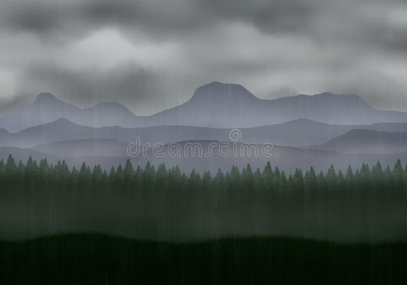 Regnig dimmig pinjeskog med berg royaltyfri illustrationer
