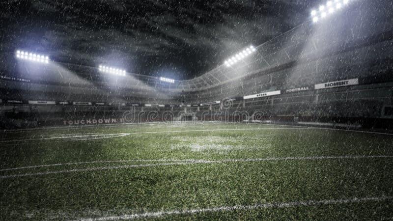 Regnig fotbollstadion i ljusa strålar på illustrationen för natt 3d arkivbild