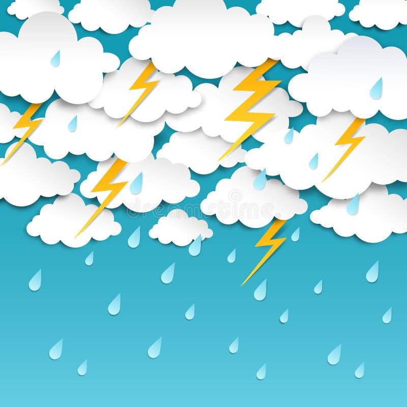 Regnig himmel för pappers- snitt Stormbakgrund, affisch för regnsäsongväder, origamiprognosbaner Regnig utstött åska för vektor vektor illustrationer