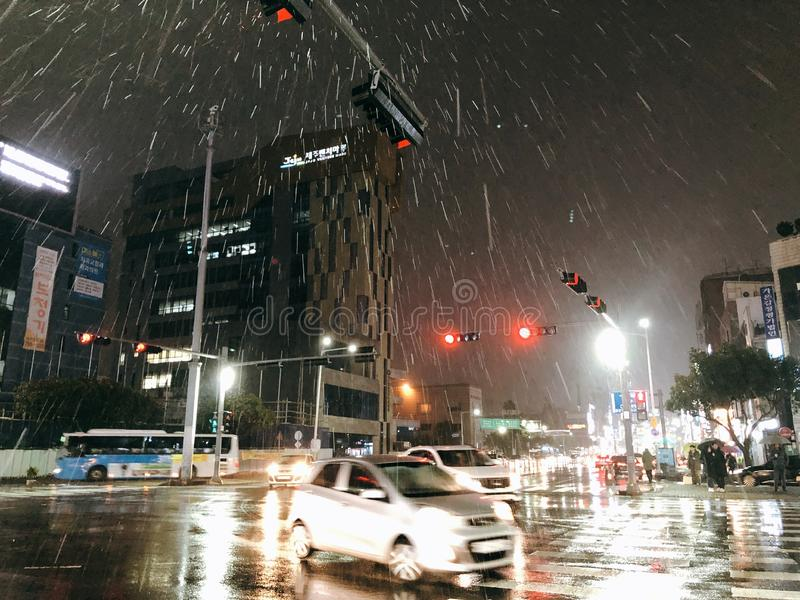 Regnig Jeju ö royaltyfri fotografi