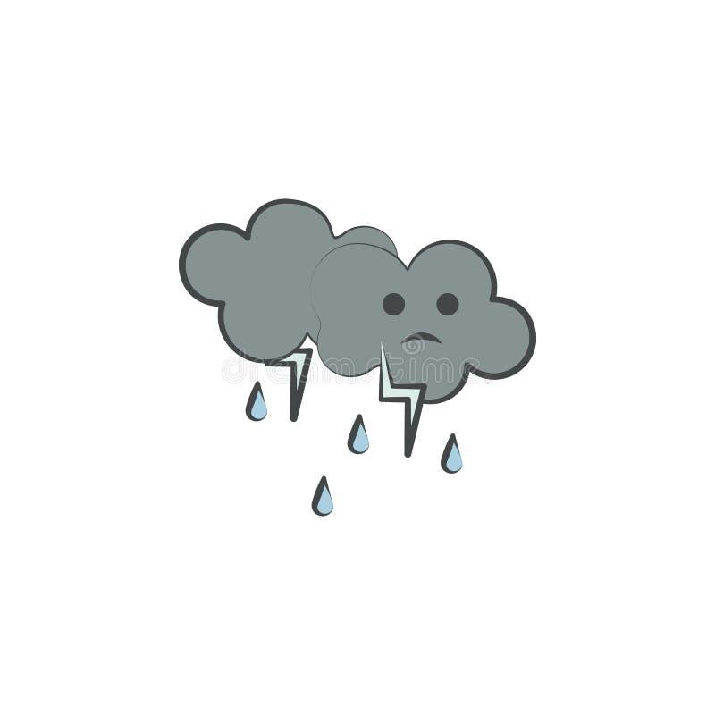 Regnig kulör hand dragen symbol Beståndsdel av höstsymbolen för mobila begrepps- och rengöringsdukapps Handen dragit färgat regni royaltyfri illustrationer