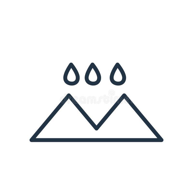 Regnig landskapsymbolsvektor som isoleras på vit bakgrund, regnigt landskaptecken vektor illustrationer