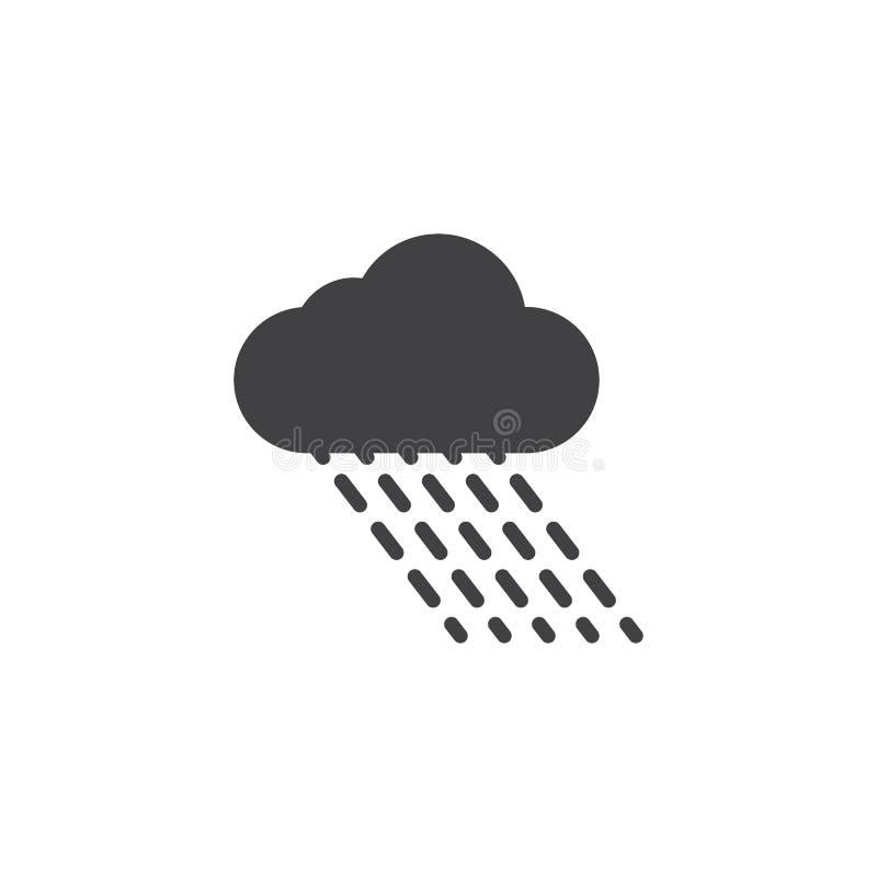 Regnig molnvektorsymbol vektor illustrationer