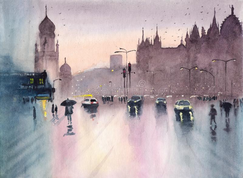 Regnig Mumbai för vattenfärg cityscape royaltyfri illustrationer