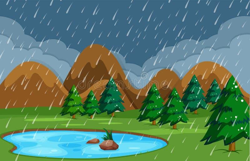 Regnig natt på dammnaturen royaltyfri illustrationer