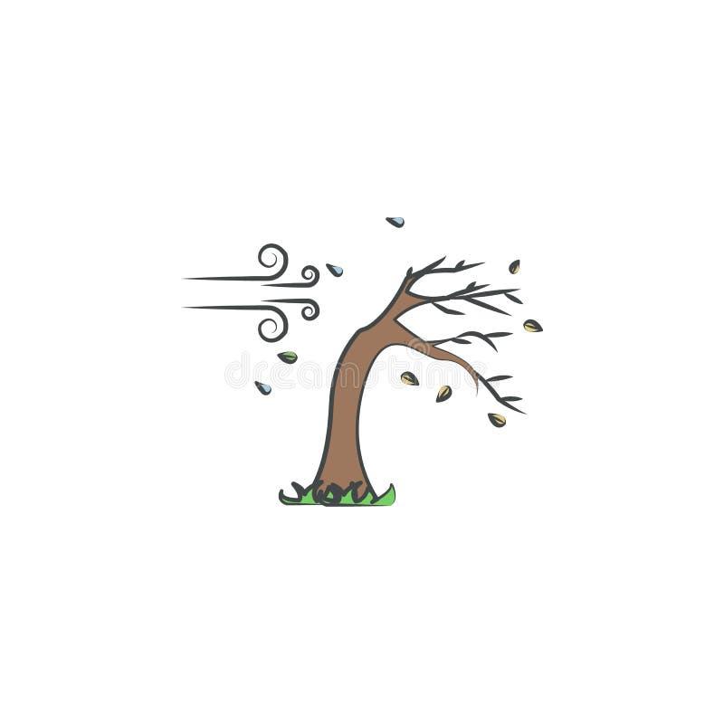 Regnig och blåsig kulör hand dragen symbol Beståndsdel av höstsymbolen för mobila begrepps- och rengöringsdukapps Hand dragit kul stock illustrationer