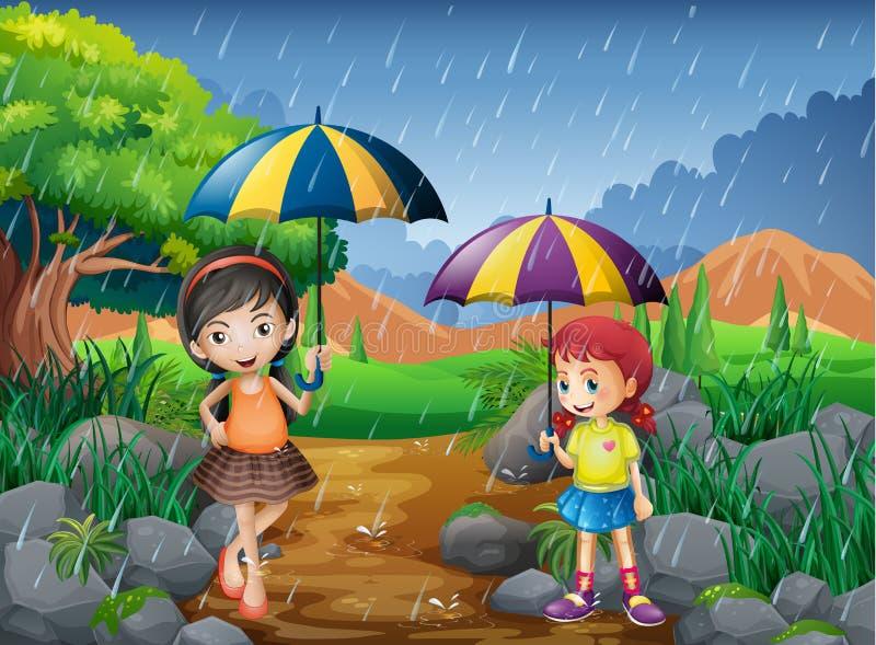 Regnig säsong med två flickor i parkera royaltyfri illustrationer