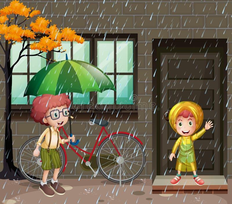 Regnig säsong med två pojkar i regnet stock illustrationer