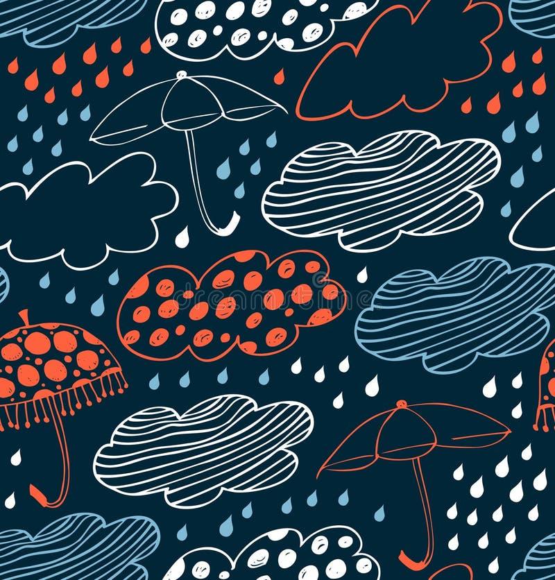 Regnig sömlös dekorativ bakgrund Gullig modell med moln, paraplyer och droppar av regn royaltyfri illustrationer